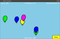 In this game you shoot balloons with the mouse by clicking on them. If you miss 5 balloons, the game is over. Points are based on the speed of the balloon. The faster it goes, the more points you get.