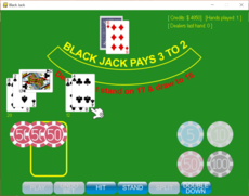 A Black Jack game with most of the bells and whistles.