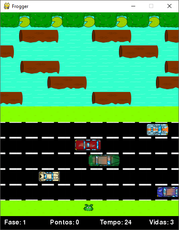 A remake of the game Frogger Arcade Game made in 1981.
