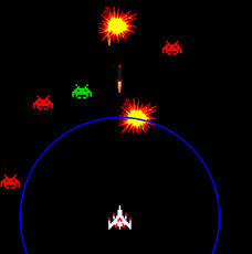 A simple shooting game with aliens that move in different patterns, missiles to kill them, and bombs to kill lots of them.