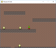 House of Cold is a retro-style platform game made in pygame and python 3 in which the player tries to find the pile of gold. It is complete with enemies and animation.