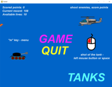 Ride on the tank, kill the enemies, do not let hit yourself.