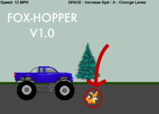 Fox-Hopper is a single player game where the goal is to avoid hitting foxes in your mighty truck. Beware, if you hit a fox you will be punished and your score will be diminished. Good luck! Download the full game for sound effects. Play on repl.it without sounds.