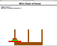 Tower of Hanoi game created for Python(v3.6.1) made through the pygame(v1.9.3) library